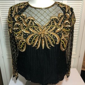 Laurence  Kazar ALTERED Sequined/Beaded Top